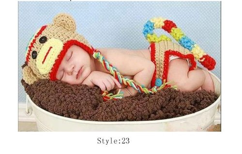 Baby Photography Prop Costume Set Crochet Knitted Baby Hat Cap Girl Boy Diaper Tiger