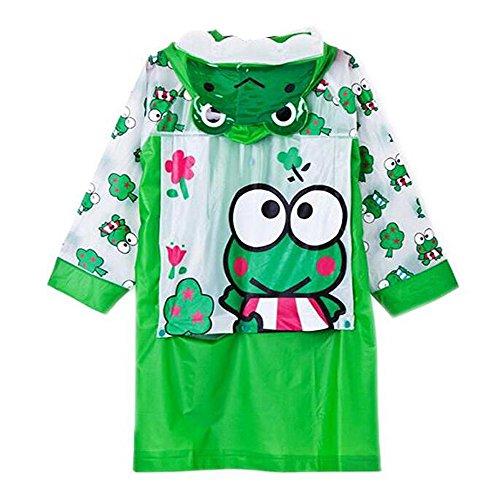 Ezyoutdoor Unisex Kids Children Hooded Raincoat Rain Jacket Poncho with School Bag Cover Children Raincoat Cartoon Poncho,Green Big Eyes Frog (XL)