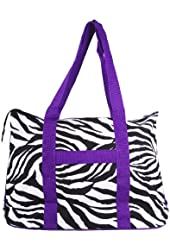 Ever Moda Zebra Print Extra Large Tote Bag with Coin Purse, Black and White with Purple Trim