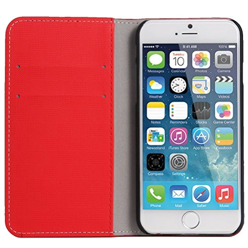 "Iphone 6 Cover Case, WAWO PU Leather Wallet Flip Protective Cover for Apple Iphone 6 4.7"" - Red"