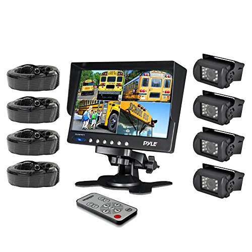 Pyle PLCMTR74 Weatherproof Rearview Backup Camera System with 7'' LCD Color Monitor, Built-in Quad Control Box Screen Function, (4) IR Night Vision Cameras, Dual DC Voltage 12-24