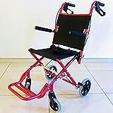 ワイドタイプの簡易車椅子 『 快飛ee!(カットビー)』 キャンディーレッド 重量約7.2kg 超軽量 コンパクト 介助用車いす 旅行やお買い物やレジャーでのご使用にも!E101-AR