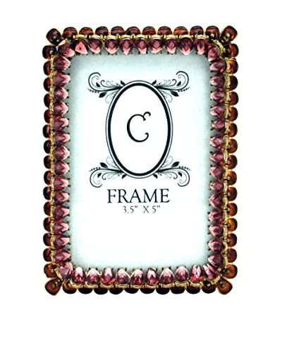 3.5″ x 5″ Jeweled Pewter Frame, Pink/Gold