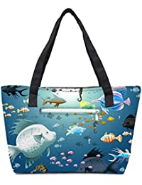 Pack Of 2 Multiple Fish Combo Tote Shopping Grocery Bag With Coin Pencil Purse