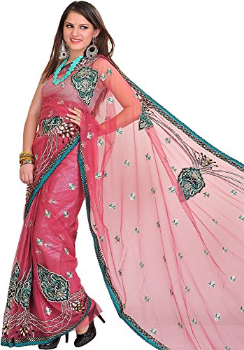 Exotic India Rose-Wine Wedding Shimmer Sari with Embroidered Patches and - Pink (Pink Indian Sari Adult Costume)