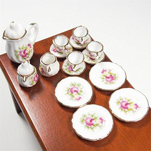 1:12 12Pcs Porcelain Tea Set Porcelain White Tea Set Afternoon Tea Miniature Toy