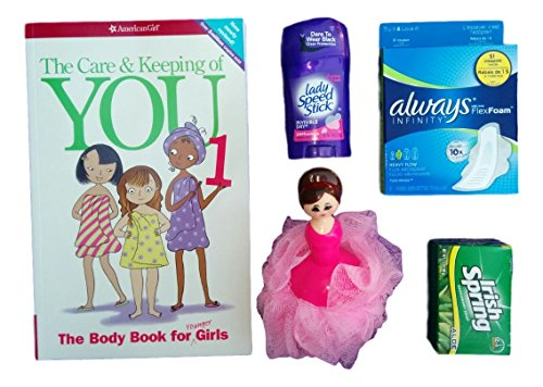 Care & Keeping Bundle for Girls Entering Puberty - 5-Piece Kit Includes The Body Book for Girls (American Girl Doll Books Series), 1 Ballerina Sponge, 1 Pack Always Pads, Lady's Deodorant & Soap (Puberty Starter Kit compare prices)