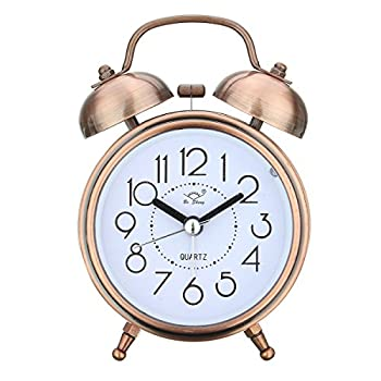 Jeteven Vintage Silent Alarm Clock Loud Twin Bell Mute Alarm Clock Quartz Analog Retro Bedside and Desk Clock with Nightlight,Copper