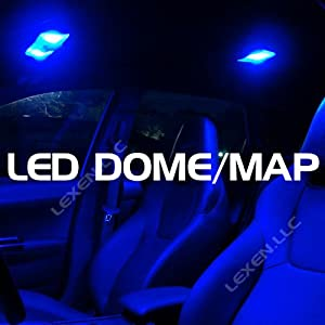 Led Blue 2x Dome Map Interior Light Bulb 9 Smd Circle Panel Xenon Hid Lamp - Fits All Vehicles by LEXEN