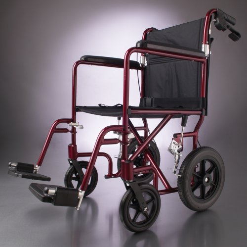 Medline Deluxe 12 Inch Wheels Transport Lightweight Wheelchair - Great for Outdoors - Blue