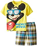 Disney Little Boys' Mickey Mouse 4-7 Tee and Woven Plaid Short Set