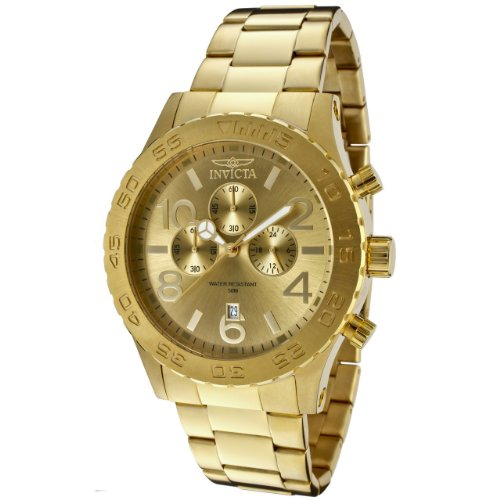 Invicta Men's 1270 Specialty Chronograph Gold Dial 18k Gold Ion-Plated Stainless Steel Watch