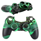 Skque® Soft Silicone Camouflage Skin Case Cover for Sony PlayStation 4 PS4 Controller, Black & Green