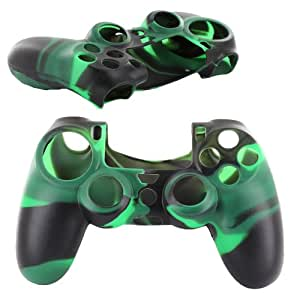 Skque Soft Silicone Camouflage Skin Case Cover for Sony PlayStation 4 PS4 Controller Black & Green