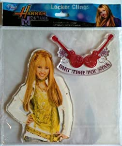 "Disney MILEY CYRUS as HANNAH MONTANA Locker & Window Cling Decoration ""PART TIME ROCK STAR"" Guitars (6 1/2 Inches Tall)"