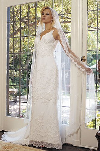Saison Blanche Couture #1884 Ivory Chantilly Lace Size 12 Bridal Gown Wedding Dress