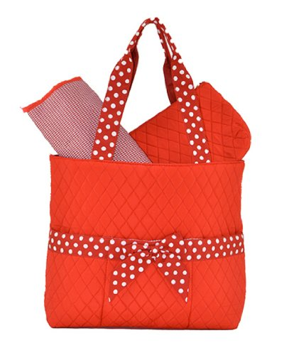 Bellaza Quilted Solid 3pc Diaper Tote Bag (Red/White) - 1