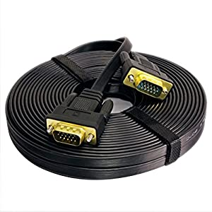 DTECH Ultra Thin Flat Type Computer Monitor VGA Cable Standard 15 Pin Male to Male VGA Wire 25 Feet