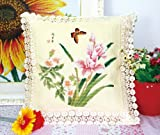 Butterfly And Orchids Stamped Cross Stitch Cushion