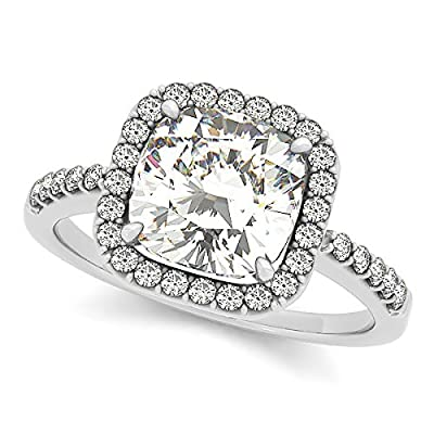 Allurez Cushion Cut Diamond Halo Engagement Ring w/ Accents 14k W. Gold 0.50ct