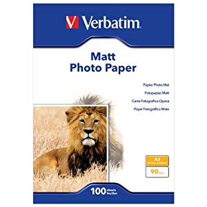 Verbatim - 45027 - Papier photo matt - 90 GSM - A3 - 100 feuilles