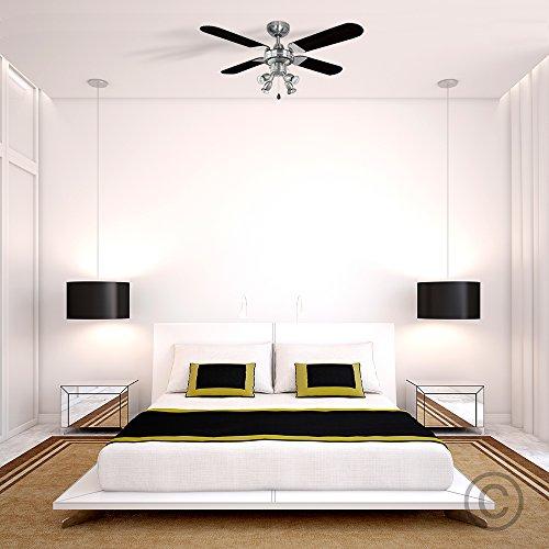 MiniSun ventilatore a soffitto cromato e moderno con 4 luci spot e pale reversibili
