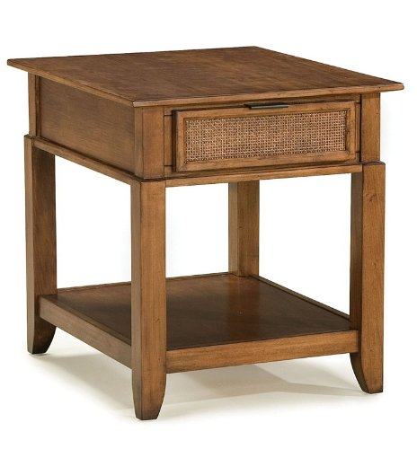 Cheap End Table with Woven Cane Drawer in Soft Mahogany Finish (VF_HY-5535-20)