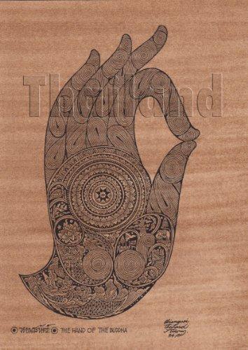 Amorn Gallery Thailand Art Buddha Picture 仏陀 手の仏 ビンテージ クラシック ポストカード