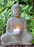 Seated Meditating Buddha Statue with Candle Holder, 8.5 High