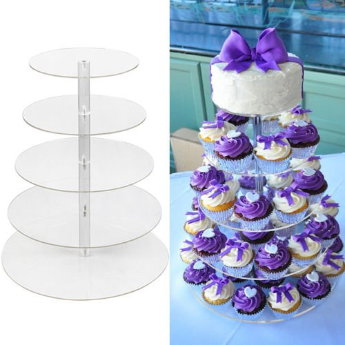 5 Tier Round Clear Acrylic Cupcake Stand Wedding Birthday Display Cake Tower (Minion Baby Shower compare prices)