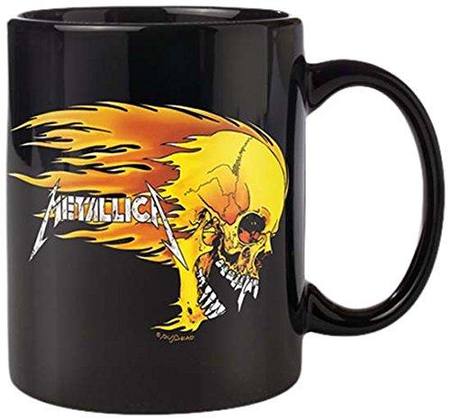 Metallica - Tazza in ceramica, motivo: teschio infuocato, colore: nero