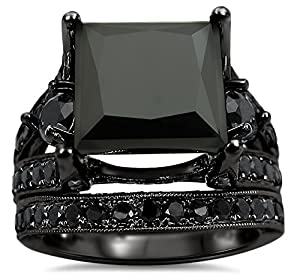 7.30ct Black Princess Cut Diamond Engagement Ring Bridal Set 14k Black Gold Plating Over White Gold