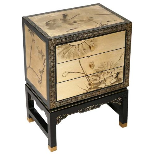 Cheap EXP Handmade Asian Furniture – 24″ Gold & Black Wood Chinese Standing Storage Cabinet / End Table (B001B18Q8K)