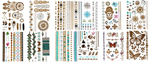 12-Sheets-of-Metallic-Temporary-Flash-Tattoos-Gold-Silver-and-Multi-Colored