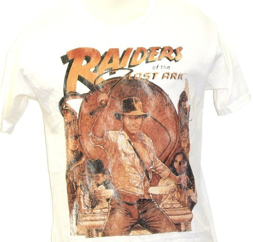 Raiders Of The Lost Ark Original Movie Poster Mens White Vintage T-shirt by Junk Food Clothing
