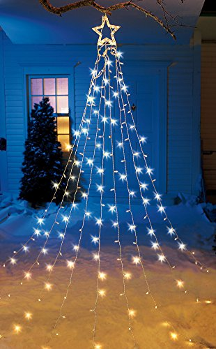 12 Ft Tall Christmas Tree String Lights Star Topper Clear Lights Festive Display Decor Seasonal Holiday Yard Outdoor Decoration