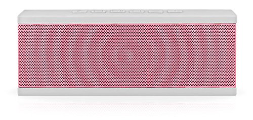 Böhm Custom Soundblock Wireless Bluetooth Stereo Speaker For Computers & Smartphones - Bluetooth 3.0 Technology With Built-In Speakerphone And 10 Hour Rechargeable Battery - White/Pink