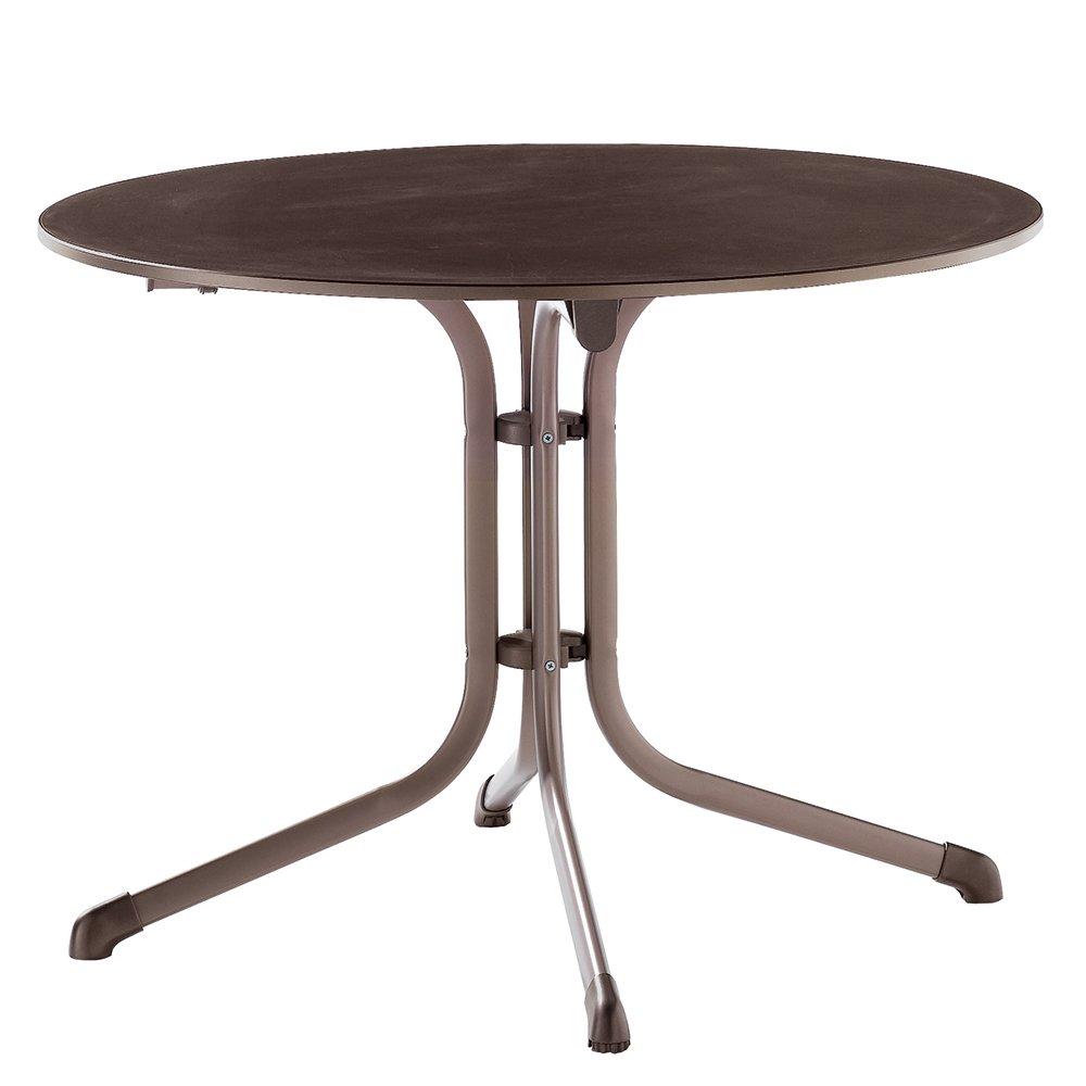 Sieger 1145-70 Boulevard-Tisch mit Puroplan-Platte Durchmesser 100 cm, Stahlrohrgestell marone, Tischplatte Schieferdekor mocca jetzt kaufen