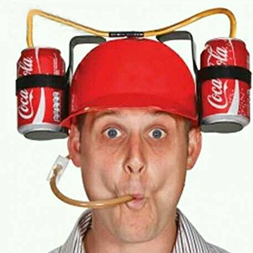 LOHOME® Beer and Soda Coke Cool Helmet Drinking Cap Drinking Hat with Straws Can Holder Toys Games Fun Party Hat (Red) (Coke Can Holder compare prices)