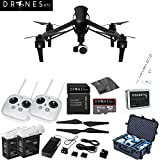CARBON FIBER DJI Inspire 1 with Dual Remotes EVERYTHING YOU NEED Kit Includes Go Professional Travel Case + 64GB UHS-I/U3 Micro SDXC Memory Card (SDSDQX-032G-U46A) + Batter Charger & DJI TB48 Intelligent Flight Battery + DJI 1345 Self-Tightening Props + High Speed Memory Card Reader + Drones Etc. Lanyard + Microfiber Cleaning Cloth + Trackimo Tracker