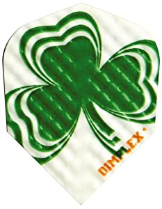 Buy 1 Set of 3 Dart Flights - 4198 - Dimplex Irish Lucky Clover Shamrock Standard Double Thick Dimpled Flights by Dart Brokers