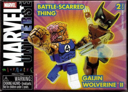 Marvel Miniates Series 8 Battle-Scarred Thing & Gaijin Wolverine Minifigure Set - 1