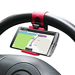 CAR STEERING WHEEL MOBILE HOLDER FOR PHONES UP TO 4.8 INCHES - WHEN YOU USE YOUR PHONE TO NAVIGATE