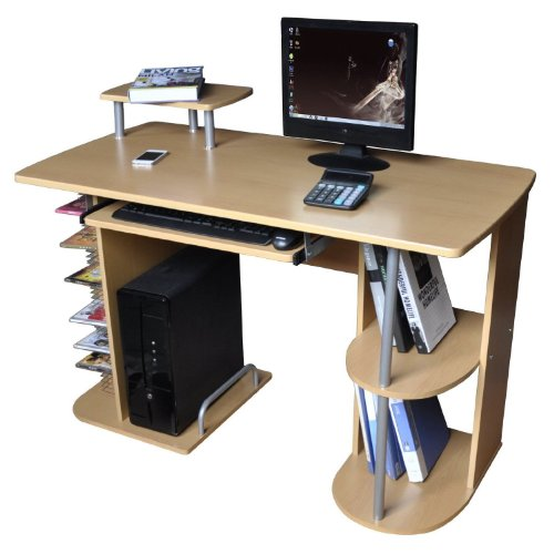 Computer Desk / Office Workstation - CPU Tower Storage Compartment - Beech Finish.