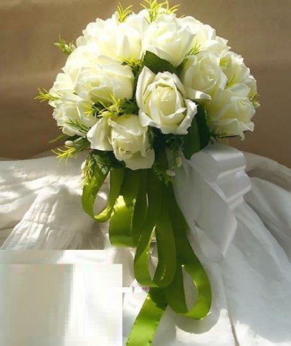 [Neustadt] ウェディングブーケ ブライダルフラワーに 清楚で かわいい 白い バラの 造花の ブーケ