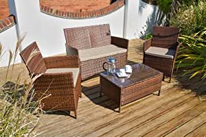 Port Royal Classic Rattan 4 Seater Coffee Set, Brown, with Coffee Table