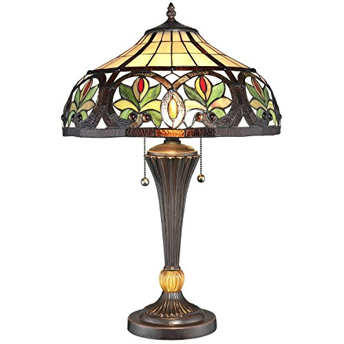 Serena D'italia Sunrise Tiffany Style Table Lamps, Mosaic Stained Glass Lamp, Antique, Victorian, Vintage Styling, Double Pull Chain (Yellow, Green, Red)
