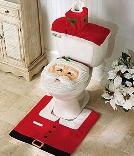 Christmas Father Santa Claus Toilet Seat Cover&Rug Bathroom Sets