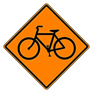 MUTCD W11-1 Orange Bicycle Sign, 3M Reflective Sheeting, Highest Gauge Aluminum,Laminated, UV Protected, Made in U.S.A
