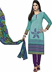 SDM Women's Cotton Printed Dress Material Unstitched (935, Green, Free Size)